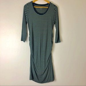 Navy & Green Striped Fitted Ruched Maternity Dress